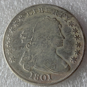 United States Coins 1801 Draped Bust Brass Silver Plated Dollar Copy Coin