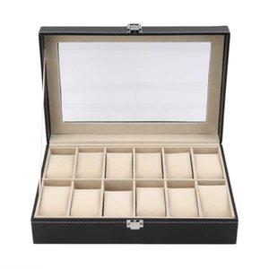 12 Slots Grid Watch Box Display Jewelry Storage Organizer - PU Leather Watch Case Display Box Caixa Para Relogio