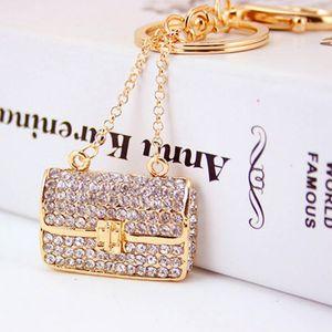 Charm Trinket 골드 도금 라인 석 크리스탈 핸드백 모양 Keychains 금속 자동차 열쇠 고리 - 패션 여성 핸드백 열쇠 고리 홀더