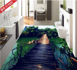 Personalizado 3d estereoscópico papel de parede sala de estar 3d telhas de assoalho de madeira ponte de bambu céu papel de parede revestimento do vinil 3d papel de parede mural para o quarto