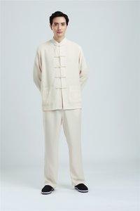 Шанхай история с длинным рукавом мужская Китайская традиционная одежда кунфу униформа для мужчин смешать хлопок белье боевых искусств набор