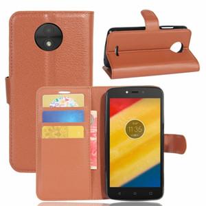 Flip Wallet Funda de cuero Litchi para Moto C PLUS E4 ZTE Nubia N1 Lite MAX XL N9560 Z986 soporte TPU Leechee tarjeta de identificación teléfono piel cubierta 1 piezas