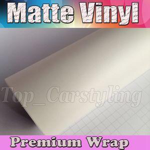 Cetim branco Vinyl Car Envoltório Filme Com Bolha de Ar Livre Matt Vinyl Para Envoltório do veículo Cobrindo folha decalque 1.52x30 m / Roll (5ftx98ft)