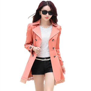 Wholesale- 2017 New Women Spring Trench Coat With Belt Mid Long Fashion Double Breasted Lace Patchwork Coats Loose Outerwear Plus Size 028