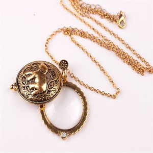 Wholesale-Elephant Hollow Tree Of Life Circle Glass Cabochon Domed Magnifying Glass Necklace Unisex Magnifier Pendant Antique Gold Jewelry