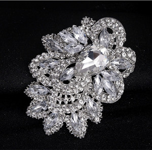 30% de desconto New Wedding Brooch Bouquet Pin atacado grande flor de prata do vintage swarovski broches de cristal moda Hot Big Broach livre DHL