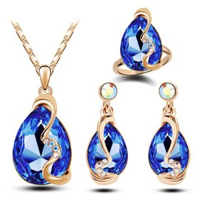 10 Trendy Swarovski Kristall Baumeln Ohrringe Halskette und Ring Set Star Light Frauen Österreichischen Schmuck Sets Engagement Geschenk