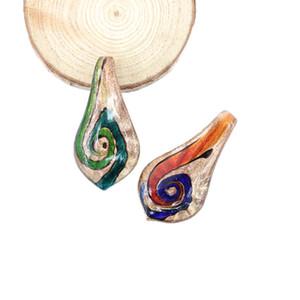 12 pcs / boîte or sable Lampwork verre pendentifs Style de peinture à l'huile avec grand trou pour la fabrication de colliers, MC0099