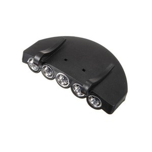 5 Leds Cap Hat Luz Clip-On 5 LED Pesca Camping Head Light HeadLamp Cap com 2 * Baterias de célula CR2032 50 pcs