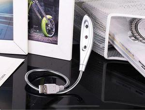 200 stücke 3 LED 3LED Silber flexible Schlange Metall USB Mini Licht Lampe Lichter für Computer Notebook Laptop 0001