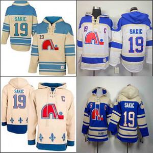 Quebec Nordiques Joe Sakic Kapşonlu 19 Ev Mavi Beyaz Eski Zaman Joe Sakic Kazak Kazak Hoodies Jersey Hoody Dikişli
