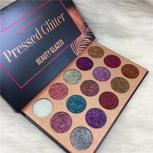 Высочайшее качество Прессованный Блеск Красоты Застекленные 15 Цветов Блестки Палитра Тени для век Маркер Shimmer Eyeshadow Beauty Makeup