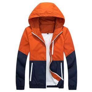 Il rivestimento degli uomini causale con cappuccio sottile esterna Windbreaker Zipper cappotti Outwear 2017 New elegante modo di alta qualità veste homme