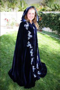Royal Blue 2017 High Quality Halloween Wear Emboridery Bridal Cloak Totally Custom Made Winter Warm Wedding Accessories