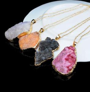 Druzy Quartz Natural Stone Naturale Irregolare Geode Gold Color Grow Nyx Stone Ciondolo Collana Collana Catena per donna Collana al quarzo Accessori per gioielli