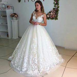 Vestidos de boda blanco / de marfil de encaje sin mangas Apliques Top Sheer escote piso-longitud vestidos de novia por encargo