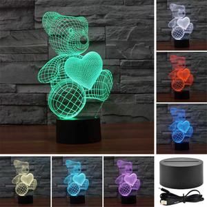 곰 사랑 사랑하는 3D 아크릴 비주얼 터치 테이블 램프 다채로운 예술 장식 아이 창조적 인 USB LED 책상 밤 빛