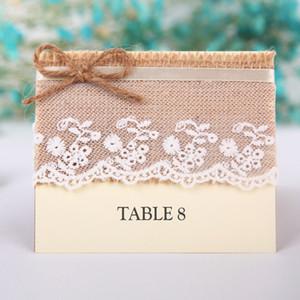 Retro Table Name Segnaposto Lino Pizzo Bomboniera Bomboniere Bomboniere per feste Centrotavola Accessori Baby Shower