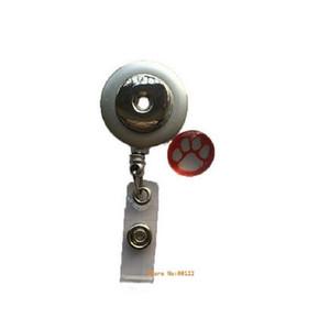 1Silver botão Snap Esticável óculos Titular ID Badge Holder Keychain Name Tag Titular broche do botão Fit 18MM snap