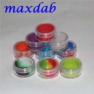 ألوان متعددة 3ML الشمع الاكريليك واضحة حاويات التركيز ، حاوية من البلاستيك مع السيليكون silcone الداخلية غير عصا Dab Storag