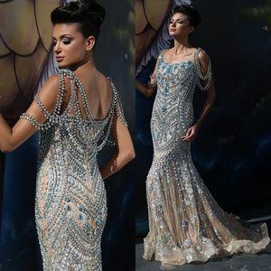 섹시한 화려한 번쩍이는 모조 다이아몬드 Evenign 가운 광장 목선 스팽글 블루 크리스탈 구슬 레드 카펫 드레스 인어 긴 이브닝 드레스