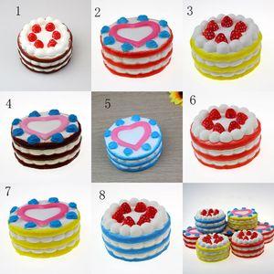 Nouveau 8 styles Strawberry cake PU toys 12 * 7.5CM Squishy Slow Rebound Simulation gâteau jouets C2359