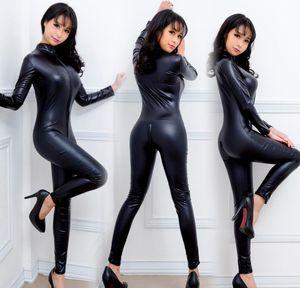 Black Metallic Lycra Mulheres Catsuit Senhoras Menina Fantasia Vestido Jumpsuit Exotic Clubwear