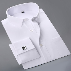 Wholesale- 2017 New French Cuff Button Men Dress Shirts classic Long Sleeve  Formal Business Fashion Shirts camisa masculina Cufflinks