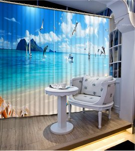High Quality Customize size Modern curtains for living room blue sky custom curtain