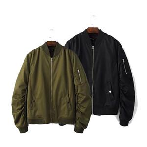 Vente en gros-Baseball Manteaux Vêtements Printemps Automne Mens Vol solide Armée Vert Bomber Veste Hommes Manches Rib Zipper Courte EE107