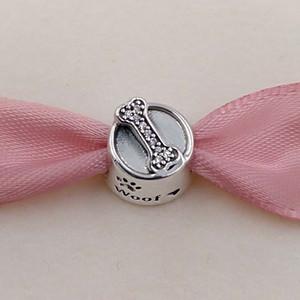Authentic 925 Dog prata Beads bacia encanto único estilo europeu jóia de Pandora pulseiras Colar 791708CZ animal de estimação presente