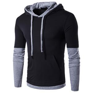 Men Hoodied T shirt Men Fashion Design Mens Long Sleeve Cotton Tee Shirt Casual Slim Fit Tshirt Men Patchwork T-shirt Free DHL