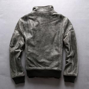 Moda Avirexfly erkekler hakiki deri ceket bağbozumu gri uçuş bombacı ceketler