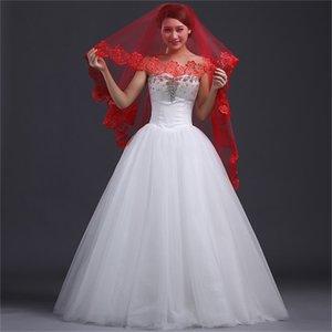Brand New 2017 Wedding Veil with Appliqued Edge Short White Ivory Red Wedding Accessories Hot Sale Elegant Princess Bridal Veils