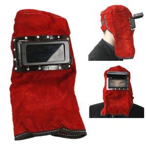 Freeshipping Ajustável Confortável de Couro Protegido Óculos de Solda Capô Capacete Máscara de Sobrecarga de Trabalho Com Segurança Roupas de Segurança