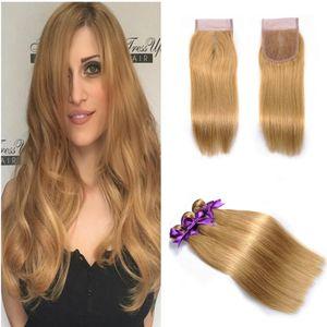 Honey Blonde #27 Color Straight Hair Weave Peruvian Virgin Hair Bundles With Lace Closure Strawberry Blonde Straight Hair Weft 4Pcs Lot