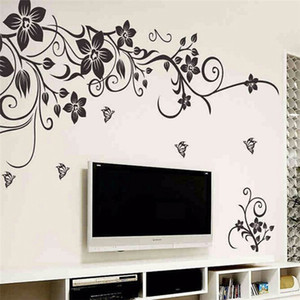 Hot DIY Wall Art Decal decoración moda romántica flor negra etiqueta de la pared / pegatinas de pared decoración para el hogar 3D Wallpaper fábrica al por mayor