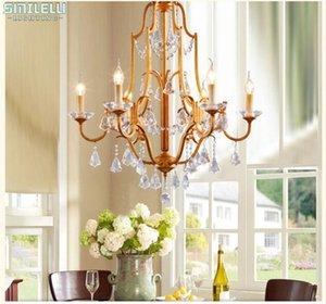 FUMAT K9 Lustres En Cristal Vintage Américain Suspension Lampe Pour Salon Bar Hôtel Art Déco LED Lumières En Cristal Lustre