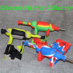 Venda quente 10mm Mini Silicone Nectar colecionadores kits com ti domeless nector coletor de plataformas de petróleo bongos de vidro bong de silicone DHL