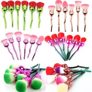 6 Adet 3D Gül Çiçek Makyaj Fırçalar Seti Vakfı Karıştırma Fırçası aracı Güzellik Kozmetik Toz Yüz Pinceis Allık Allık makyaj Fırça Kitleri