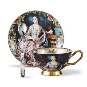 La soucoupe de tasse de thé d'os de Chine place la peinture à l'huile de personne avec des cuillères-10.2Oz, avec une boîte-cadeau