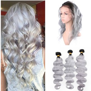 Sliver Grey Bundles Con 360 Lace Frontal Two Tone Grey Lace Frontal con Bundles Body Wave Grey Ombre 360 ​​Lace Frontal con Bundles