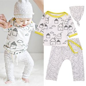 Organic Baby Boys Girls T-shirt Tops Pants Leggings Hat Outfits Clothes 3Pcs Set