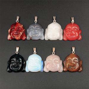 10pcs / lot pierre naturelle charmes pour la fabrication de bijoux bouddhiste tibétain religieux maitreya bouddha tête statue amulette pendentif entretoise 35x34mm