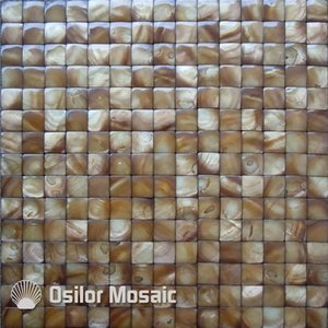 Dyed yellow convex style Chinese freshwater shell mother of pearl mosaic tiles for interior house decoration kitchen and bathroom wall tiles
