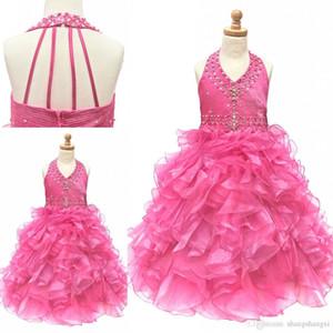 I più nuovi vestiti di spettacolo delle ragazze di progettazione bella una linea Halter Backless naturale vita senza maniche perlina Ruffle Organza Handmade Pageant Gown