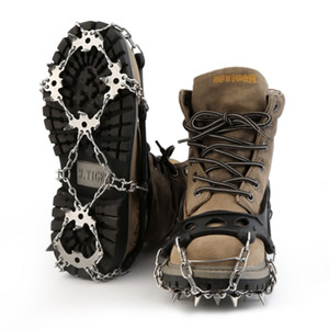 TPR Hiking Traction Cleats Crampons For Snow And Ice 18-tooth Stainless Steel Shoes Chain Cleat Crampons wholesale