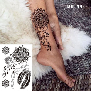 #BH-14 Pretty Black Elegant Henna Temporary Tattoo for Foot with Feather Bracelet Pattern Inspired Sticker