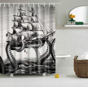 Tenda dell'acquazzone del commercio all'ingrosso Octopus Kraken Attacco a vela Design Bagno Tessuto impermeabile in poliestere Multi-Size +12 ganci