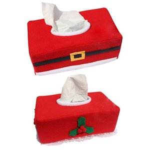 Wholesale- 25.5x14x9.5cm High quality Christmas Decorations Napkin Paper Tissue Box Cloth Case Cover Home Dinner Table Ornaments Supplies